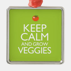 Premium Square Ornament with Keep Calm and Grow Veggies design