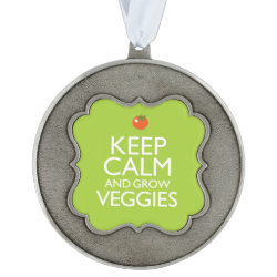 Scalloped Pewter Ornament with Keep Calm and Grow Veggies design