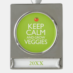 Silver Plated Banner Ornament with Keep Calm and Grow Veggies design