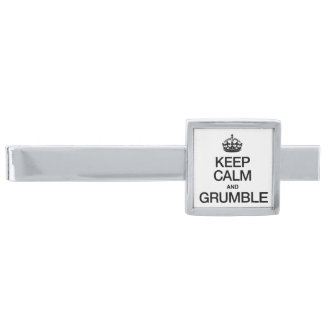KEEP CALM AND GRUMBLE SILVER FINISH TIE BAR
