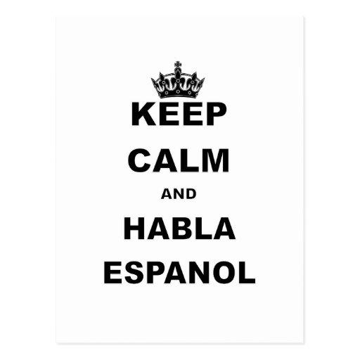 KEEP CALM AND HABLA ESPANOL POSTCARDS