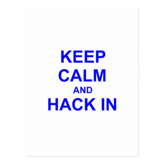 Keep Calm and Hack In gray blue black Postcard