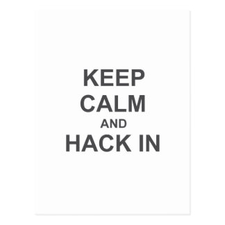 Keep Calm and Hack In gray blue black Post Cards