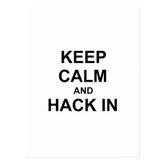 Keep Calm and Hack In gray blue black Post Card
