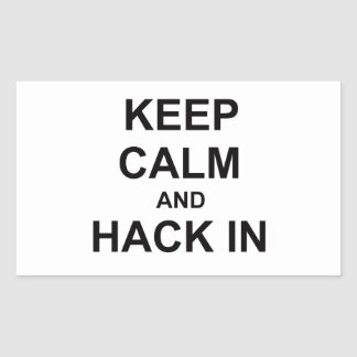 Keep Calm and Hack In gray blue black Rectangular Sticker
