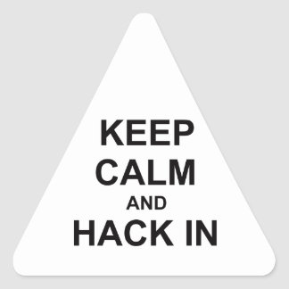 Keep Calm and Hack In gray blue black Triangle Sticker