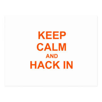 Keep Calm and Hack In red orange pink Postcards