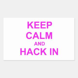 Keep Calm and Hack In red orange pink Rectangular Sticker