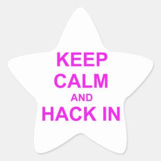 Keep Calm and Hack In red orange pink Star Sticker