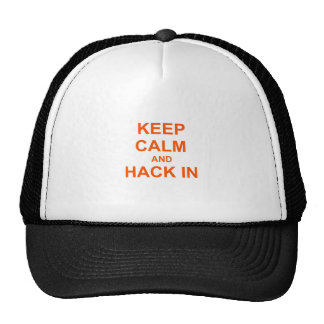 Keep Calm and Hack In red orange pink Trucker Hat