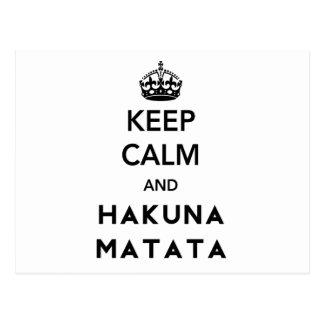 Keep Calm and Hakuna Matata Postcard