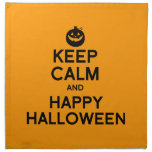 KEEP CALM AND HAPPY HALLOWEEN -.png Printed Napkins