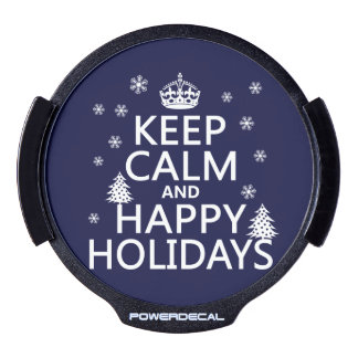 Keep Calm and Happy Holidays LED Window Decal