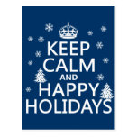 Keep Calm and Happy Holidays Postcard