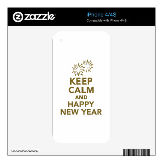 Keep calm and Happy New Year Skin For iPhone 4