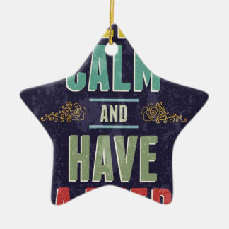 Keep Calm And Have A Beer Double-Sided Star Ceramic Christmas Ornament