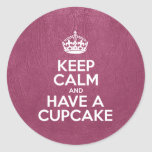 Keep Calm and Have a Cupcake - Glossy Pink Leather Round Stickers