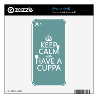 Keep Calm and Have a Cuppa - all colors Decal For iPhone 4S