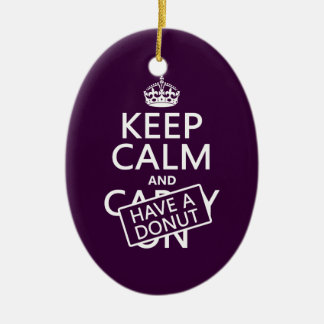 Keep Calm and Have A Donut (customize colors) Double-Sided Oval Ceramic Christmas Ornament