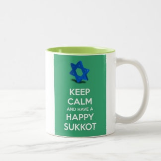Keep calm and have a Happy Sukkot Two-Tone Coffee Mug