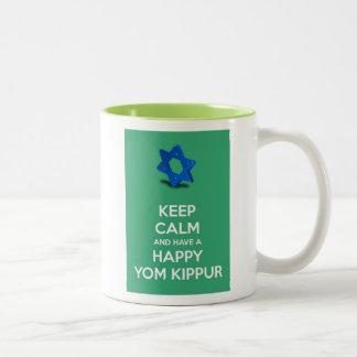 Keep calm and have a Happy Yom Kippur Jewish Two-Tone Coffee Mug