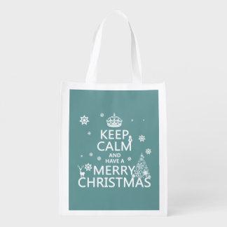 Keep Calm and Have a Merry Christmas Reusable Grocery Bag