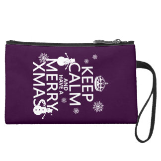 Keep Calm and Have A Merry Xmas (Christmas) Suede Wristlet