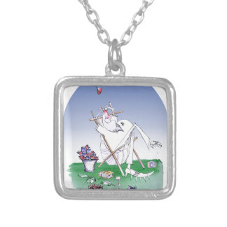 keep calm and have a snoooze, tony fernandes silver plated necklace