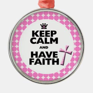 Keep Calm and have Faith pink polka-dot cross Christmas Tree Ornament