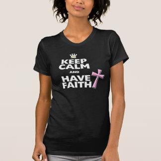 Keep Calm and have Faith pink polka-dot cross Tee Shirts
