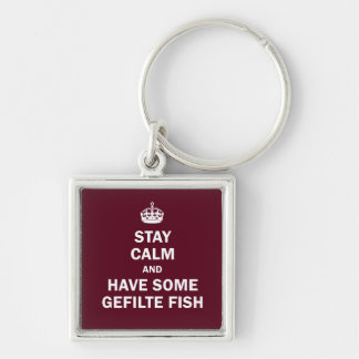 Keep calm and have some Gefilte Fish Silver-Colored Square Keychain