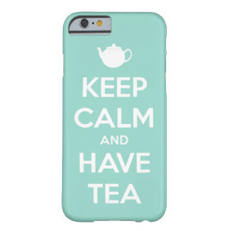 Keep Calm and Have Tea Aqua and White Barely There iPhone 6 Case