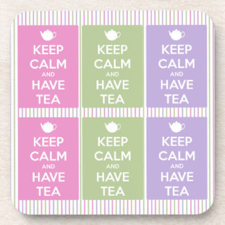 Keep Calm and Have Tea Collage Coaster