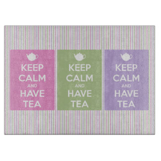 Keep Calm and Have Tea Collage Cutting Board