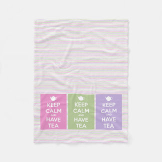 Keep Calm and Have Tea Collage on Stripes Fleece Blanket