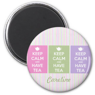 Keep Calm and Have Tea Collage Round Magnet