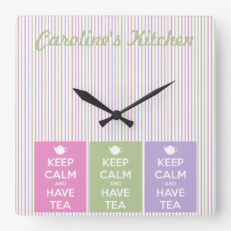 Keep Calm and Have Tea Collage Square Wall Clock