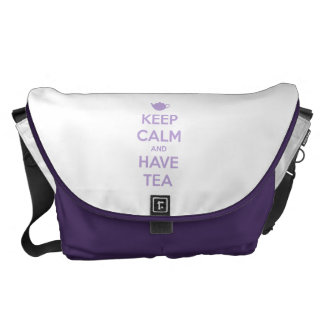 Keep Calm and Have Tea Lavender Messenger Bag