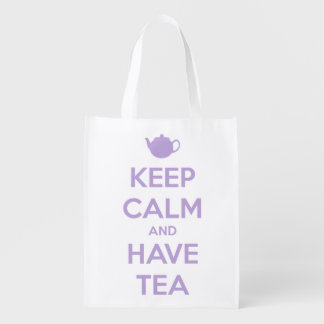 Keep Calm and Have Tea Lavender on White Grocery Bag