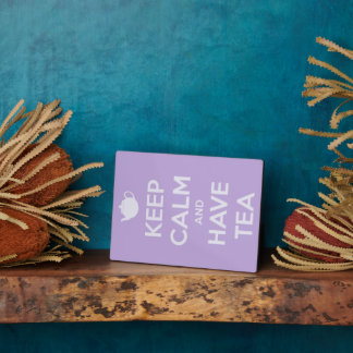 Keep Calm and Have Tea Lavender Photo Easel Plaque