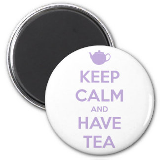 Keep Calm and Have Tea Lavender Round Magnet