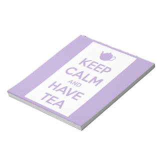 Keep Calm and Have Tea Lavender/White Notepad