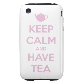 Keep Calm and Have Tea Pink on White Tough iPhone 3 Cases