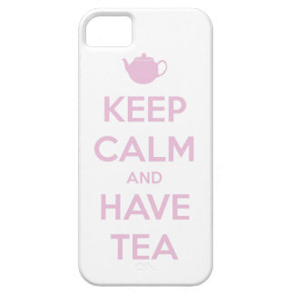 Keep Calm and Have Tea Pink on White iPhone 5 Cases