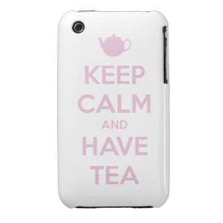 Keep Calm and Have Tea Pink on White iPhone 3 Cover