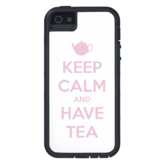 Keep Calm and Have Tea Pink on White Cover For iPhone 5