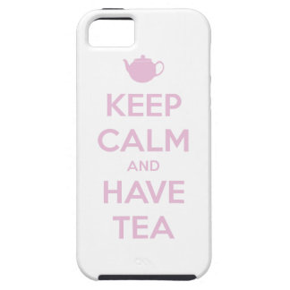 Keep Calm and Have Tea Pink on White iPhone 5 Case