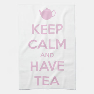 Keep Calm and Have Tea Pink on White Hand Towel