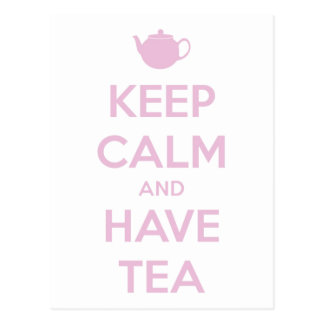 Keep Calm and Have Tea Pink on White Postcard