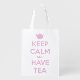 Keep Calm and Have Tea Pink on White Reusable Grocery Bag